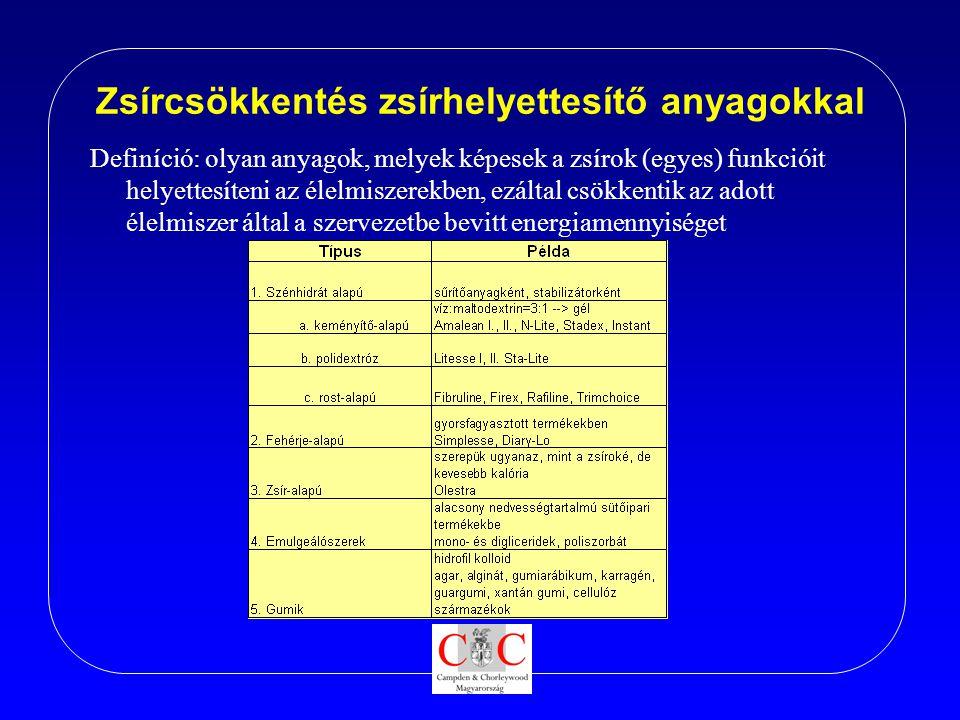 Zsírcsökkentés zsírhelyettesítő anyagokkal Definíció: olyan anyagok, melyek képesek a zsírok (egyes) funkcióit helyettesíteni az élelmiszerekben, ezál