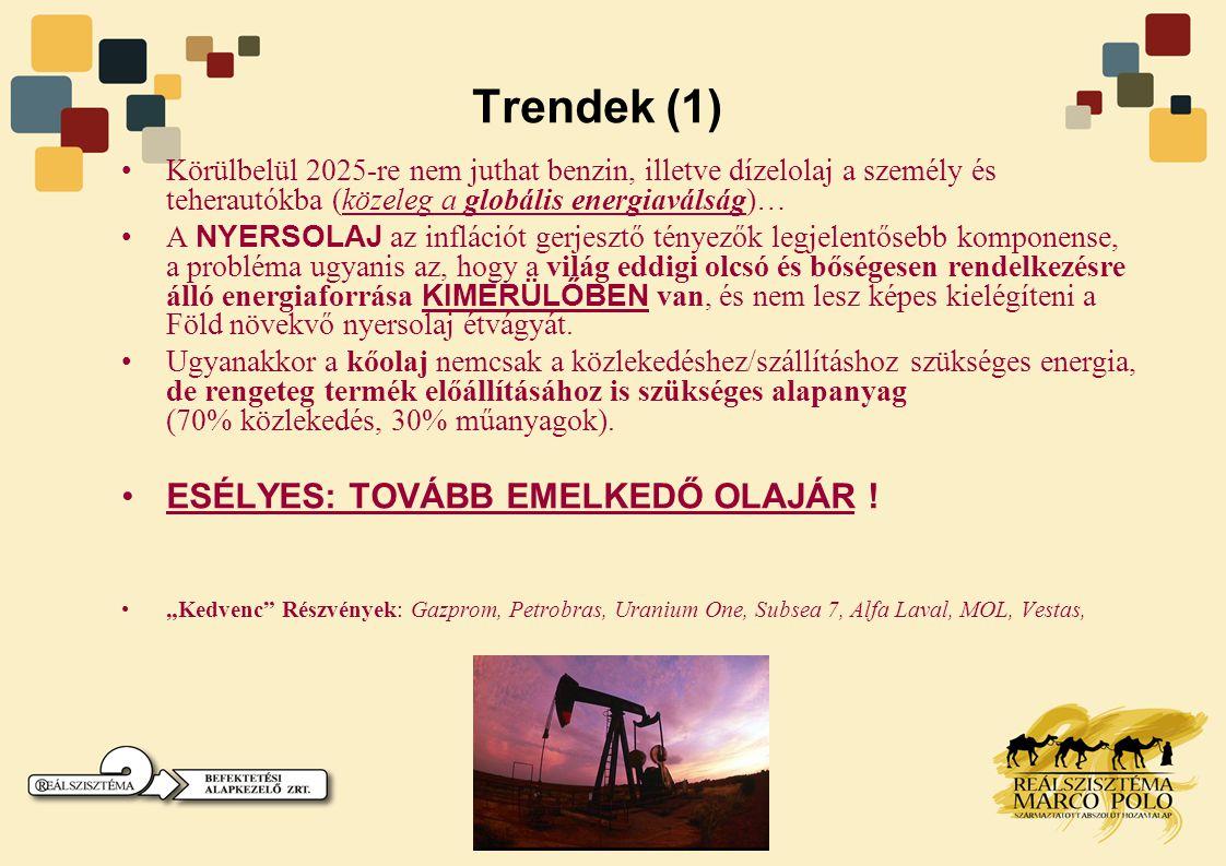 Trendek (1) •Körülbelül 2025-re nem juthat benzin, illetve dízelolaj a személy és teherautókba (közeleg a globális energiaválság)… •A NYERSOLAJ az inf