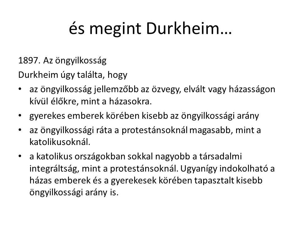 …az öngyilkosság és a társadalmi integráció Durkheim az egyén és a társadalom közötti kapcsolatot tanulmányozta.