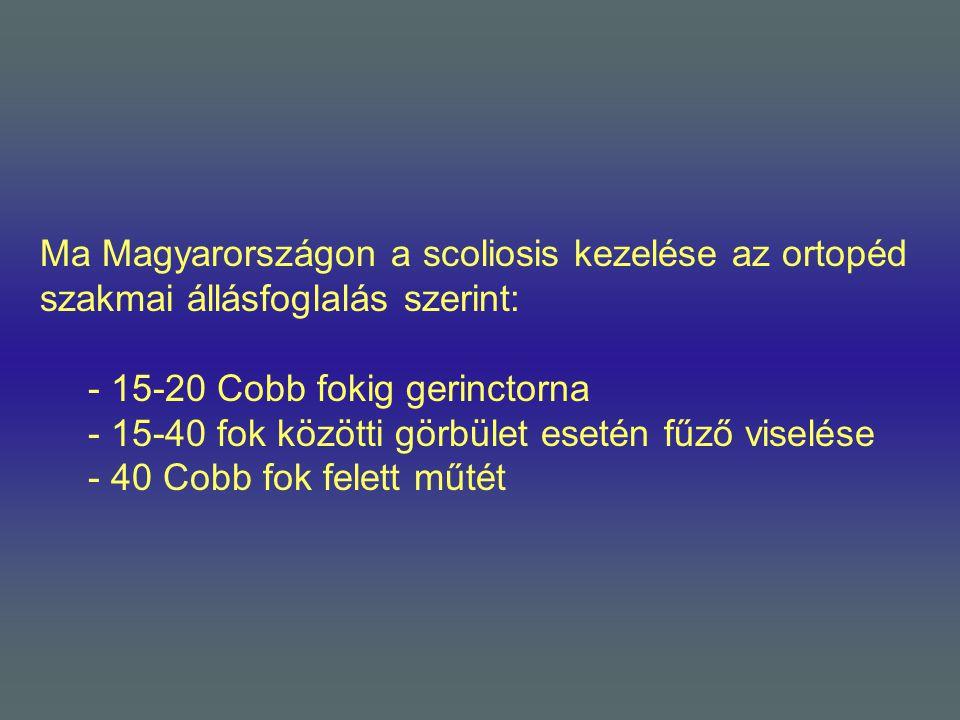 Ma Magyarországon a scoliosis kezelése az ortopéd szakmai állásfoglalás szerint: - 15-20 Cobb fokig gerinctorna - 15-40 fok közötti görbület esetén fű