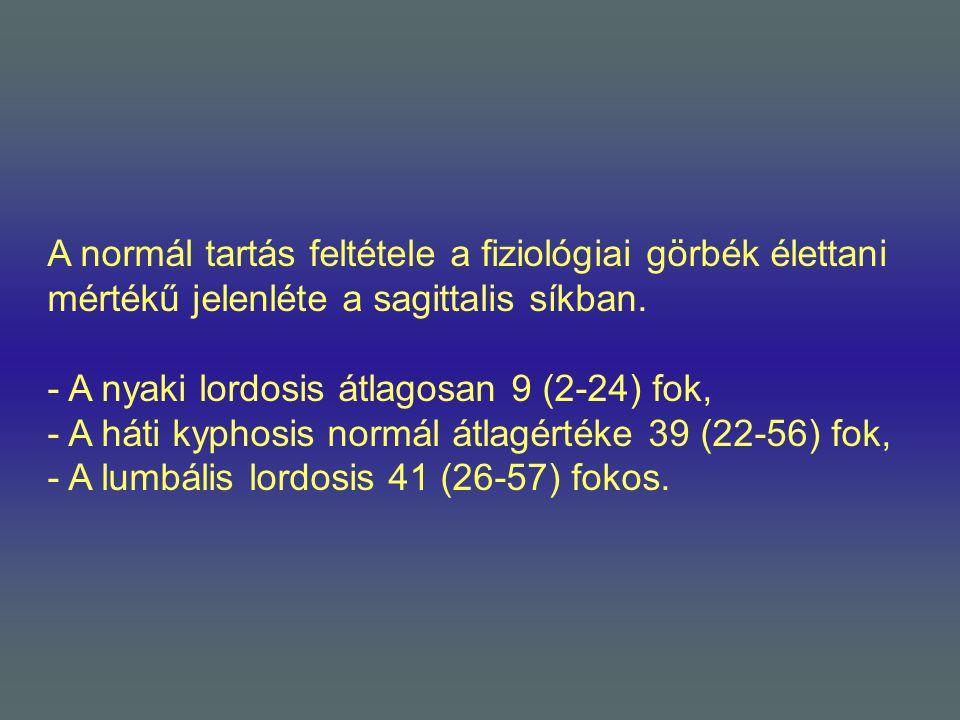 A normál tartás feltétele a fiziológiai görbék élettani mértékű jelenléte a sagittalis síkban. - A nyaki lordosis átlagosan 9 (2-24) fok, - A háti kyp