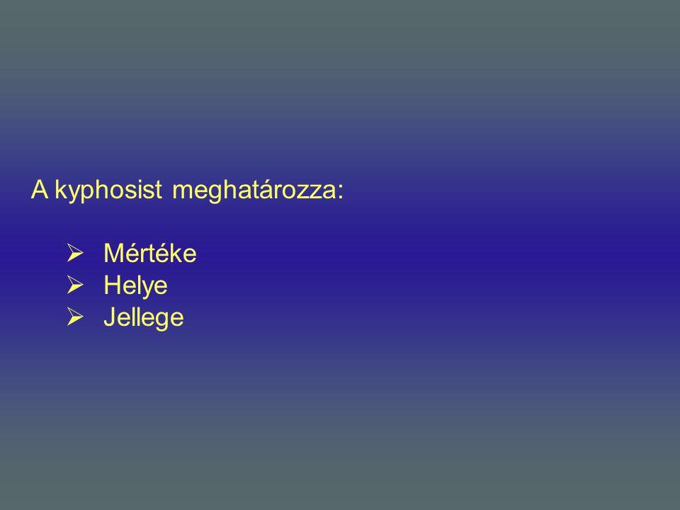 A kyphosist meghatározza:  Mértéke  Helye  Jellege