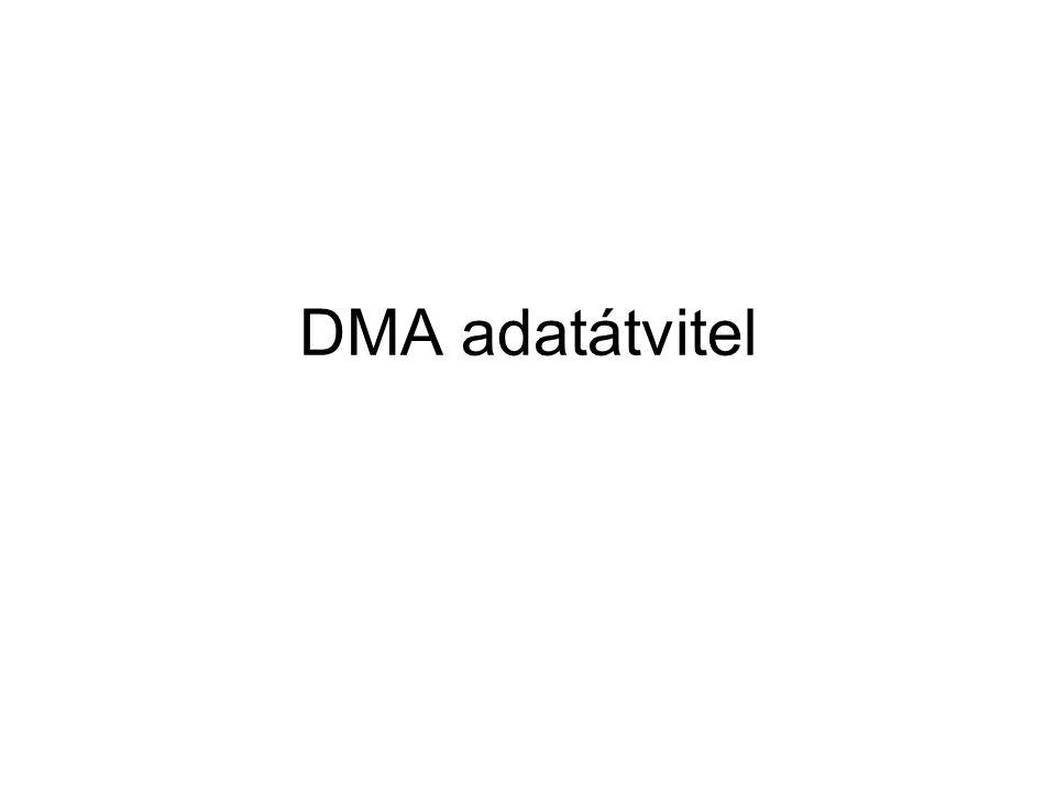 Szószám-tárolás •A DMA adatátvitel indításakor a CPU betölti a DMA vezérlő számláló- regiszterébe az átvitelre kerülő szavak számát.