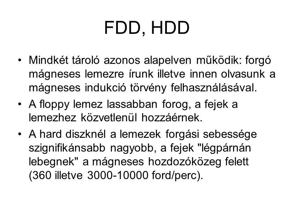 FDD, HDD •Mindkét tároló azonos alapelven működik: forgó mágneses lemezre írunk illetve innen olvasunk a mágneses indukció törvény felhasználásával. •
