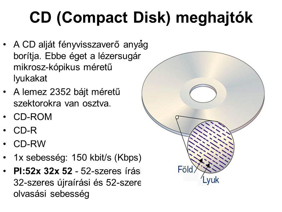 CD (Compact Disk) meghajtók. •A CD alját fényvisszaverő anyag borítja. Ebbe éget a lézersugár mikrosz-kópikus méretű lyukakat •A lemez 2352 bájt méret