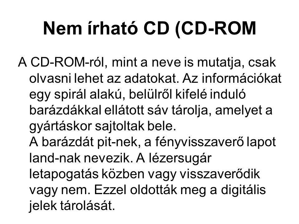 Nem írható CD (CD-ROM A CD-ROM-ról, mint a neve is mutatja, csak olvasni lehet az adatokat. Az információkat egy spirál alakú, belülről kifelé induló