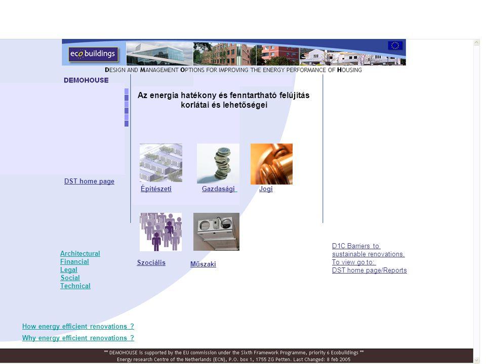 Az energia hatékony és fenntartható felújítás korlátai és lehetőségei GazdaságiÉpítészetiJogi Szociális Műszaki Architectural Financial Legal Social T