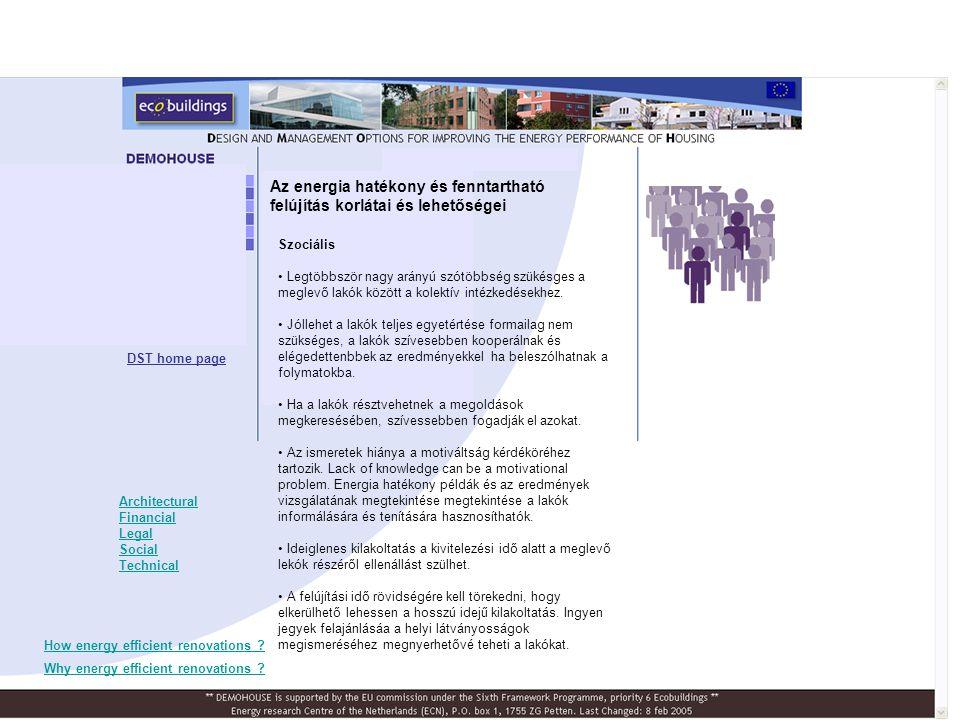 Szociális • Legtöbbször nagy arányú szótöbbség szükésges a meglevő lakók között a kolektív intézkedésekhez.