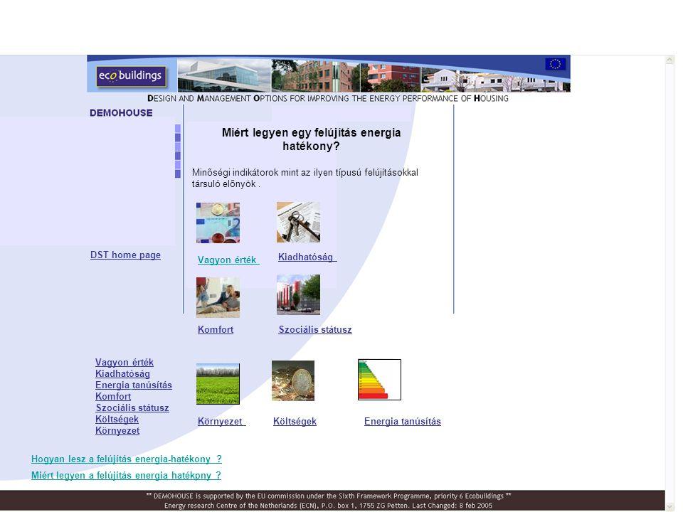 Before renovationAfter renovation DST home page Ország, Város Építési évFő jellemzőkFontosabb energia- takarékossági intézkedések Ausztria, Graz 1975-76Két paneles épület, Szociális bérlakások Távhő- szolgáltatás Külső hőszigetelés Biomass-kapcsolt energiatermelés Minőség ellenőrzés (thermografikus képek) alapterü let [m 2 ] egyszerű megtérül és [év] felújítási költség [€/m 2 ] Fütés +HMV [kWh/m 2 a] CO 2 - csökkent és [%] Ausztria9860 1413010252% Ausztria, CHP nélkül9860 811810222% Osztrák Demohouse Building A projekt eredménye: Az osztrák projekt tanulságai •Mi ment jól •Mik voltak a problémák •Tanulságok •Monitoring OSZTRÁK Demohouse épület: - Az építőanyagok kiválasztása komoly hatással van az épület ökológiai tulajdonságaira.