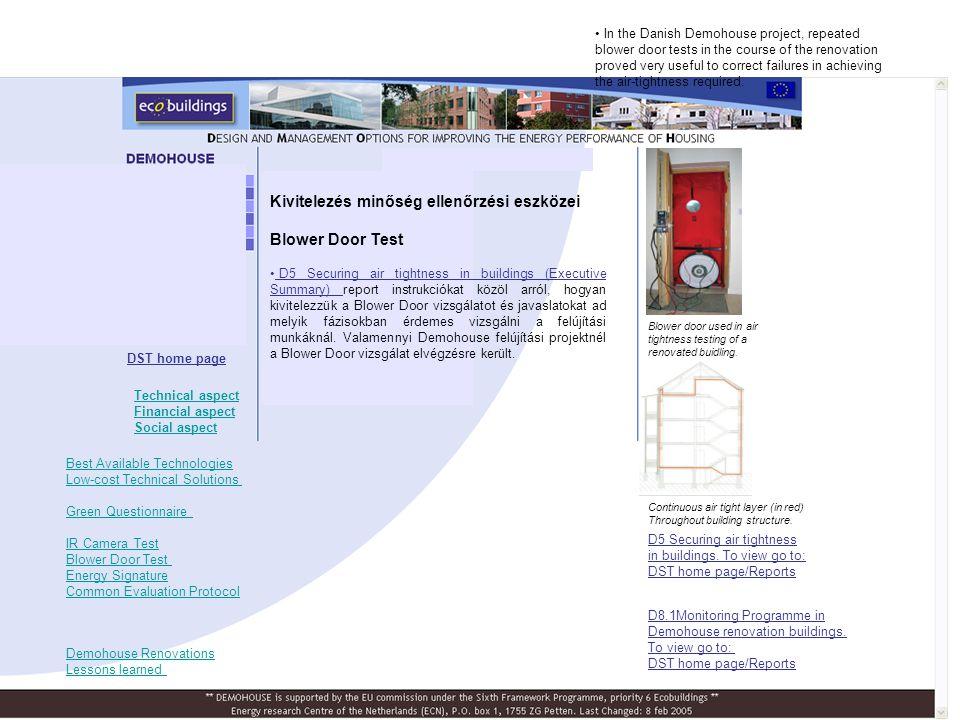 Kivitelezés minőség ellenőrzési eszközei Blower Door Test • D5 Securing air tightness in buildings (Executive Summary) report instrukciókat közöl arró