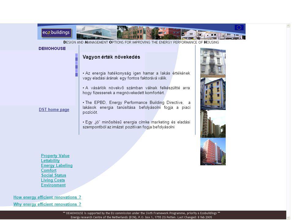 Dán Demohouse Felújítás elöttFelújítás után Ecovent hővisszanyerő szellőzés Tetőtéri lakásegység DST home page Ország, város Építési évFő jellemzőkFontosabb energia- takarékossági intézkedések Dánia, Copenhag en 1965-19693 (of 12) házgyári épület, Távhő szolgáltatás Külső hőszigetelés Légzárás Hőviszanyerő szellőzés a lakásokban A felújítási projket eredményei: A dán felújítási projekt tanulságai •Mi ment jól •Mik voltak a problémák •Tanulságok •Monitoring alapterül et [m 2 ] egyszerű megtérülés [év] felújítási költség [€/m 2 ] Fűtés + HMV [kWh/m 2 a] CO 2 - csökke ntés [%] Dán2880 212184050% Dán Demohouse épület: - Alacsony árszint a hővisszanyerő szellőzésnél szükséges feltétel legyen könnyen beépíthető.