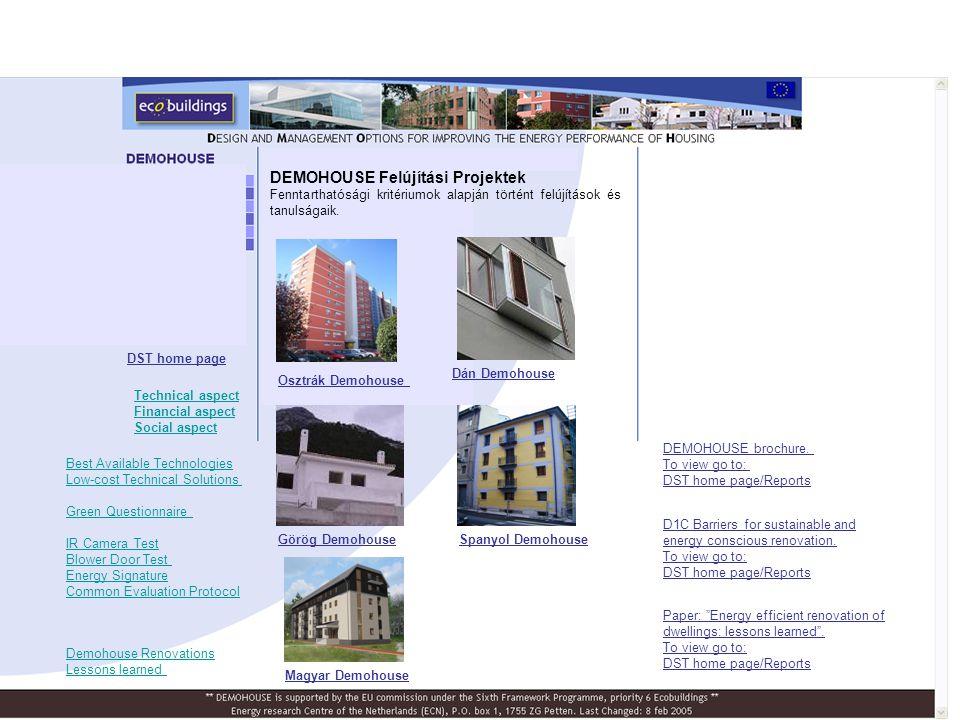 Osztrák Demohouse Dán Demohouse Görög DemohouseSpanyol Demohouse Magyar Demohouse D1C Barriers for sustainable and energy conscious renovation.