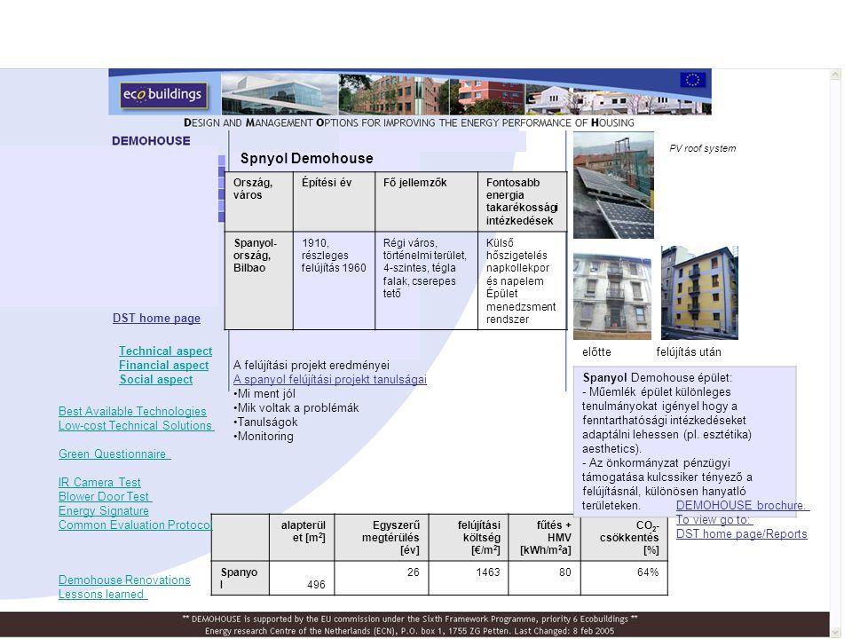 Spnyol Demohouse előttefelújítás után PV roof system DST home page A felújítási projekt eredményei A spanyol felújítási projekt tanulságai •Mi ment jó