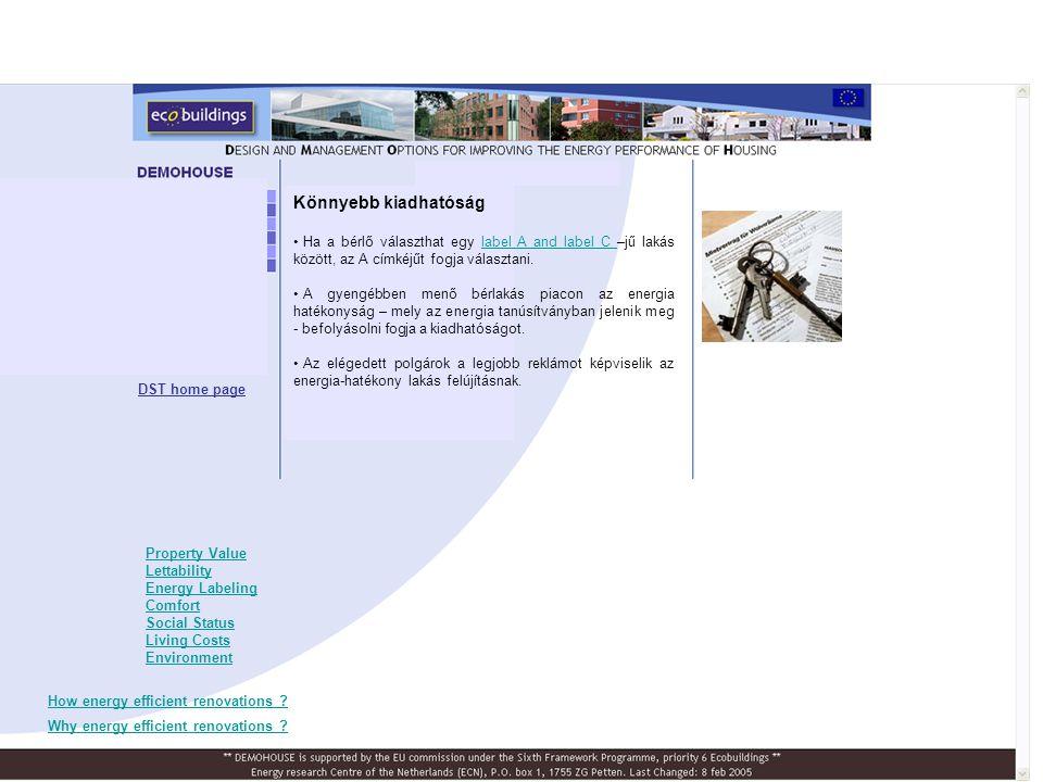 Előnyösebb energia tanúsítvány • EPBD, Energy Performance Building Directive tanúsítvány a lakások energia hatékonyságát mutatják be A-tól G-ig.