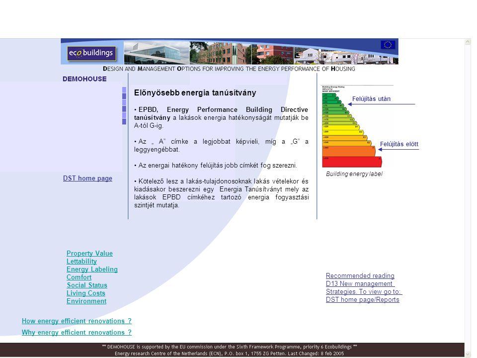 Előnyösebb energia tanúsítvány • EPBD, Energy Performance Building Directive tanúsítvány a lakások energia hatékonyságát mutatják be A-tól G-ig. • Az