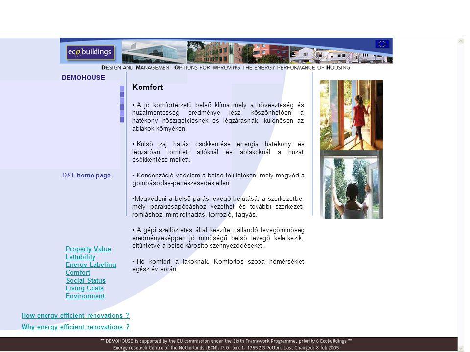 Spnyol Demohouse előttefelújítás után PV roof system DST home page A felújítási projekt eredményei A spanyol felújítási projekt tanulságai •Mi ment jól •Mik voltak a problémák •Tanulságok •Monitoring Ország, város Építési évFő jellemzőkFontosabb energia takarékossági intézkedések Spanyol- ország, Bilbao 1910, részleges felújítás 1960 Régi város, történelmi terület, 4-szintes, tégla falak, cserepes tető Külső hőszigetelés napkollekpor és napelem Épület menedzsment rendszer alapterül et [m 2 ] Egyszerű megtérülés [év] felújítási költség [€/m 2 ] fűtés + HMV [kWh/m 2 a] CO 2 - csökkentés [%] Spanyo l496 2614638064% Spanyol Demohouse épület: - Műemlék épület különleges tenulmányokat igényel hogy a fenntarthatósági intézkedéseket adaptálni lehessen (pl.