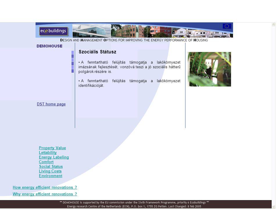 DST home page A Demohouse Felújítási Projektek Monitoringja Information 2008 végére várható.