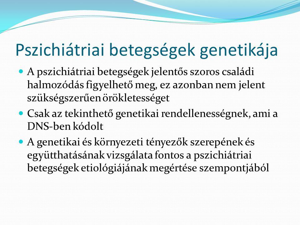 Pszichiátriai betegségek genetikája  A pszichiátriai betegségek jelentős szoros családi halmozódás figyelhető meg, ez azonban nem jelent szükségszerű