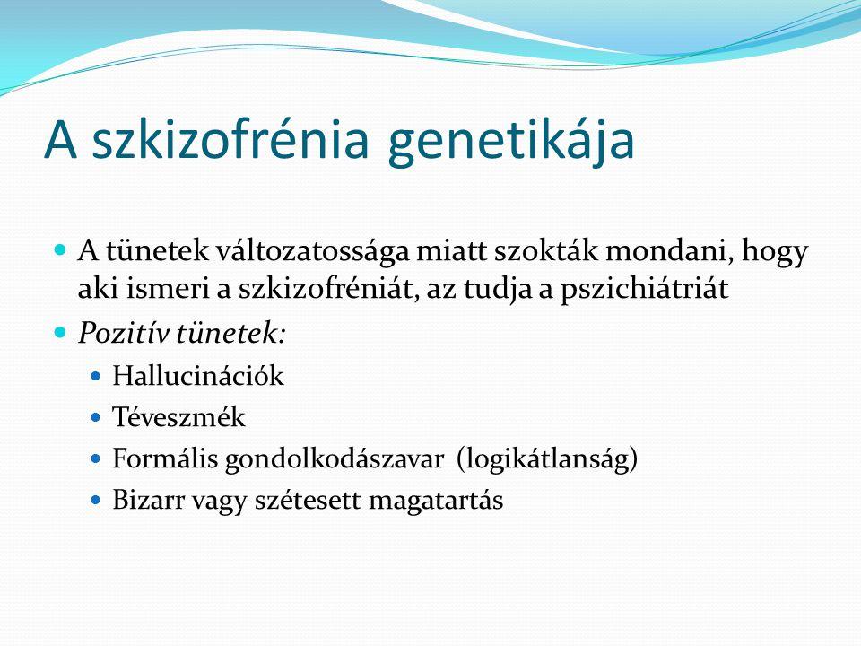 A szkizofrénia genetikája  A tünetek változatossága miatt szokták mondani, hogy aki ismeri a szkizofréniát, az tudja a pszichiátriát  Pozitív tünete