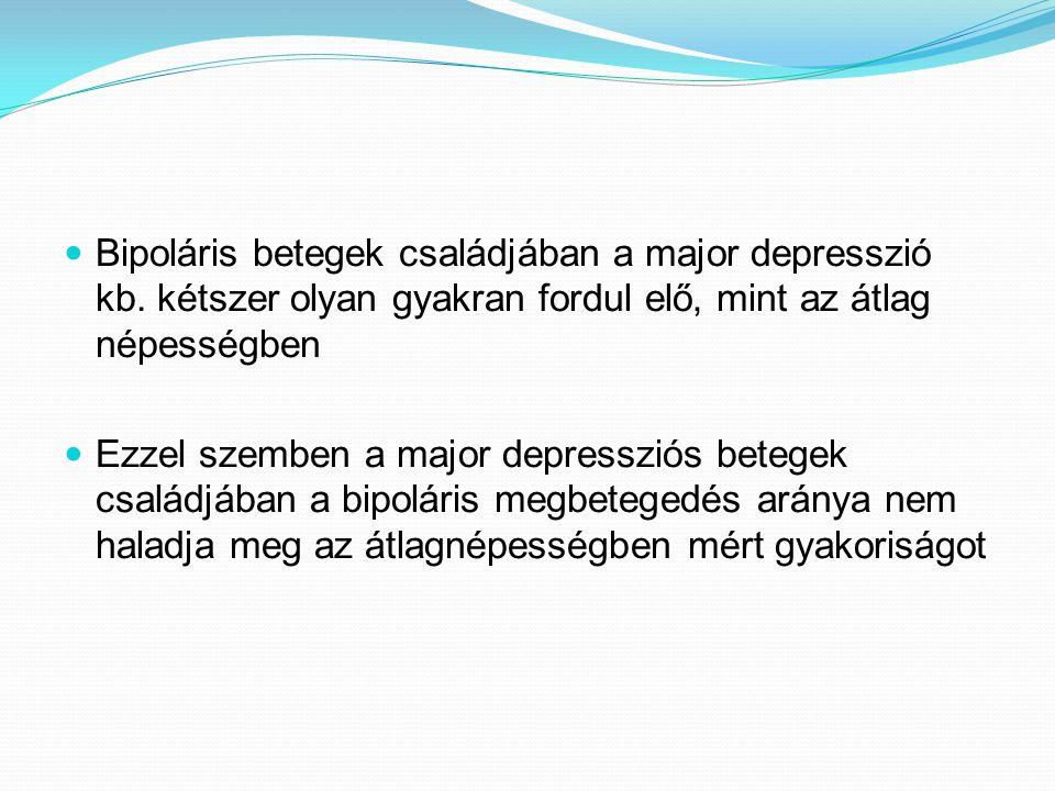  Bipoláris betegek családjában a major depresszió kb. kétszer olyan gyakran fordul elő, mint az átlag népességben  Ezzel szemben a major depressziós