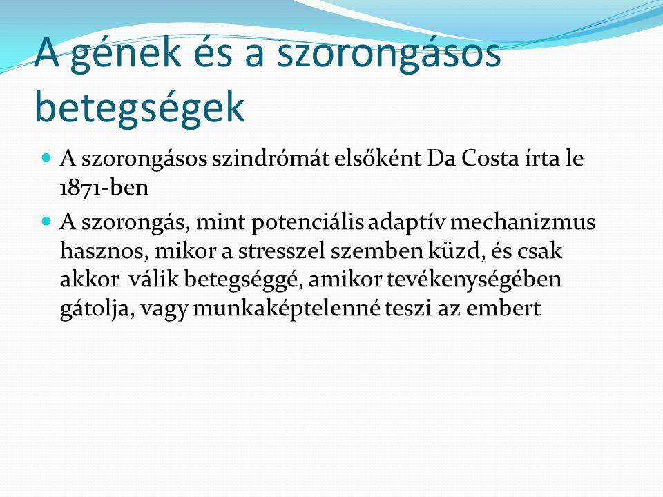 A gének és a szorongásos betegségek  A szorongásos szindrómát elsőként Da Costa írta le 1871-ben  A szorongás, mint potenciális adaptív mechanizmus