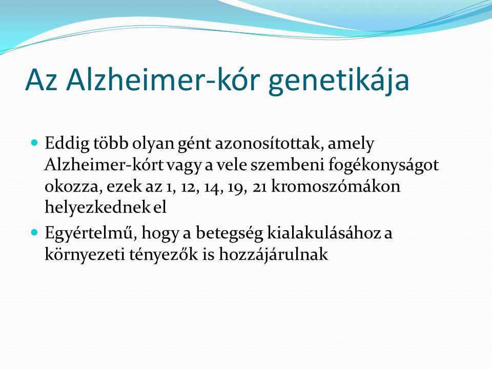 Az Alzheimer-kór genetikája  Eddig több olyan gént azonosítottak, amely Alzheimer-kórt vagy a vele szembeni fogékonyságot okozza, ezek az 1, 12, 14,