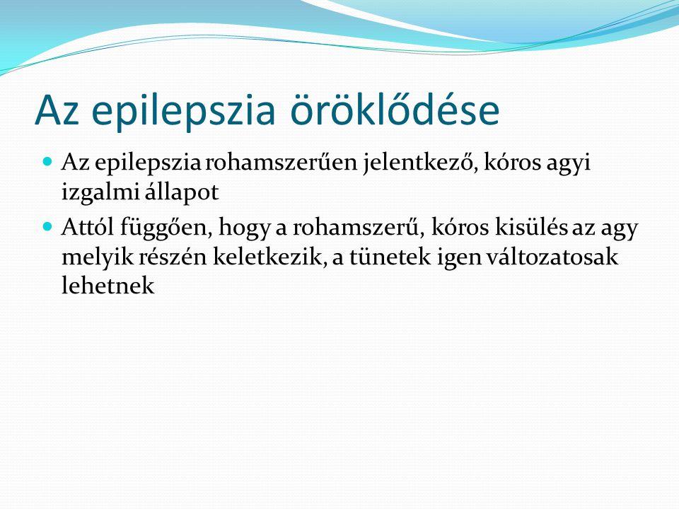 Az epilepszia öröklődése  Az epilepszia rohamszerűen jelentkező, kóros agyi izgalmi állapot  Attól függően, hogy a rohamszerű, kóros kisülés az agy