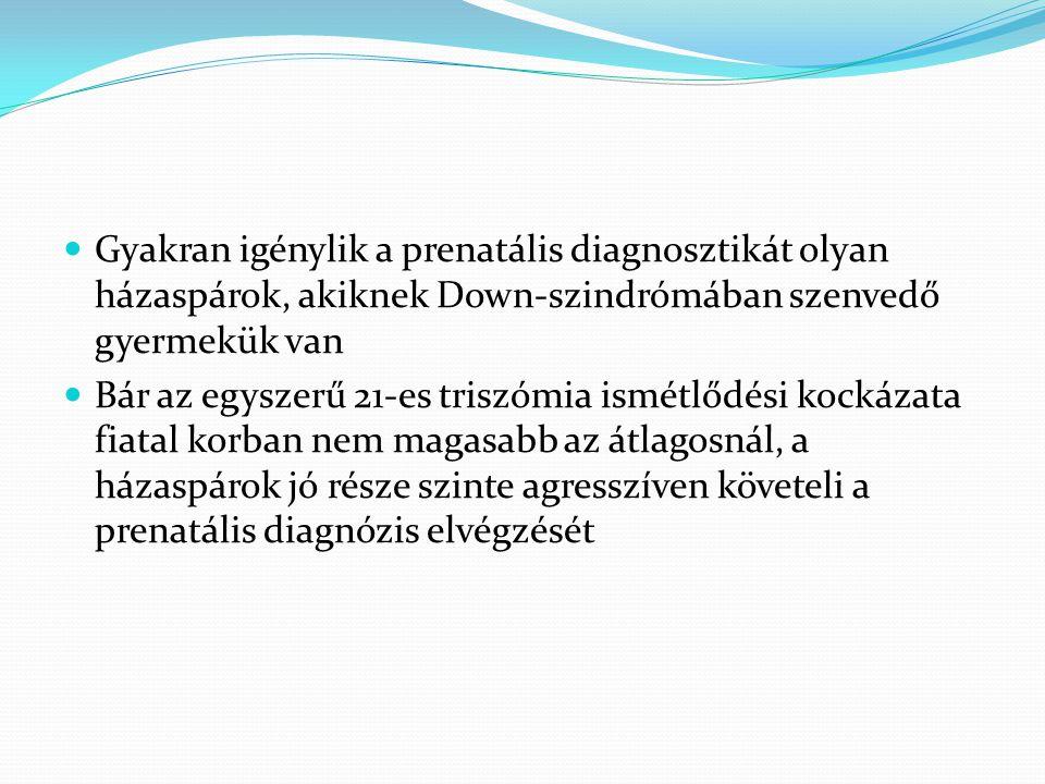 Gyakran igénylik a prenatális diagnosztikát olyan házaspárok, akiknek Down-szindrómában szenvedő gyermekük van  Bár az egyszerű 21-es triszómia ism
