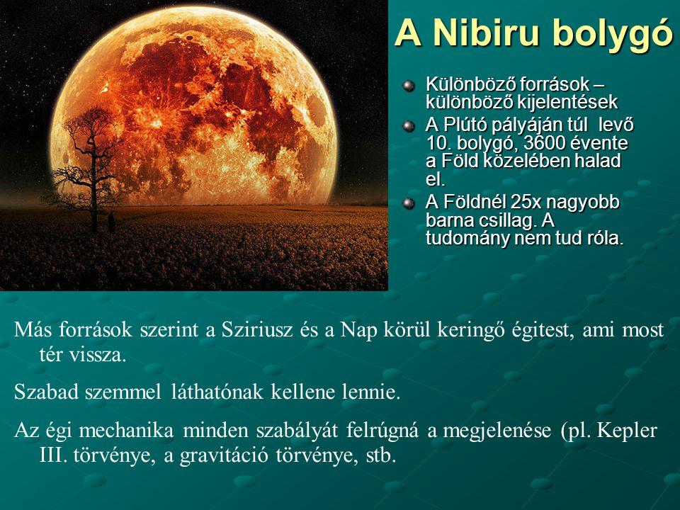 A Nibiru bolygó Különböző források – különböző kijelentések A Plútó pályáján túl levő 10. bolygó, 3600 évente a Föld közelében halad el. A Földnél 25x