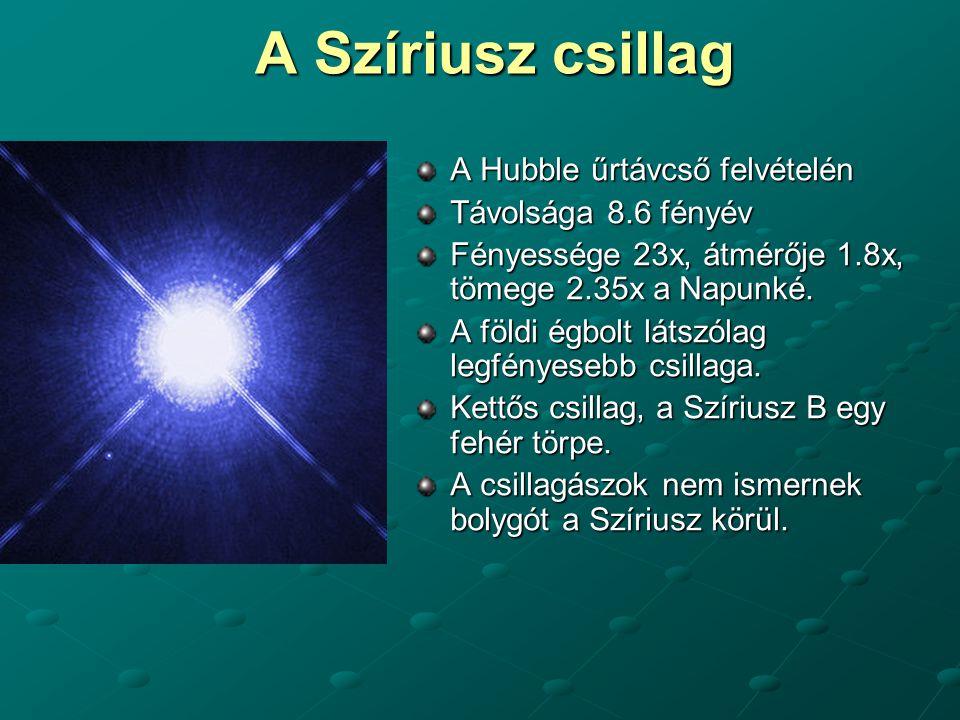A Szíriusz csillag A Hubble űrtávcső felvételén Távolsága 8.6 fényév Fényessége 23x, átmérője 1.8x, tömege 2.35x a Napunké. A földi égbolt látszólag l