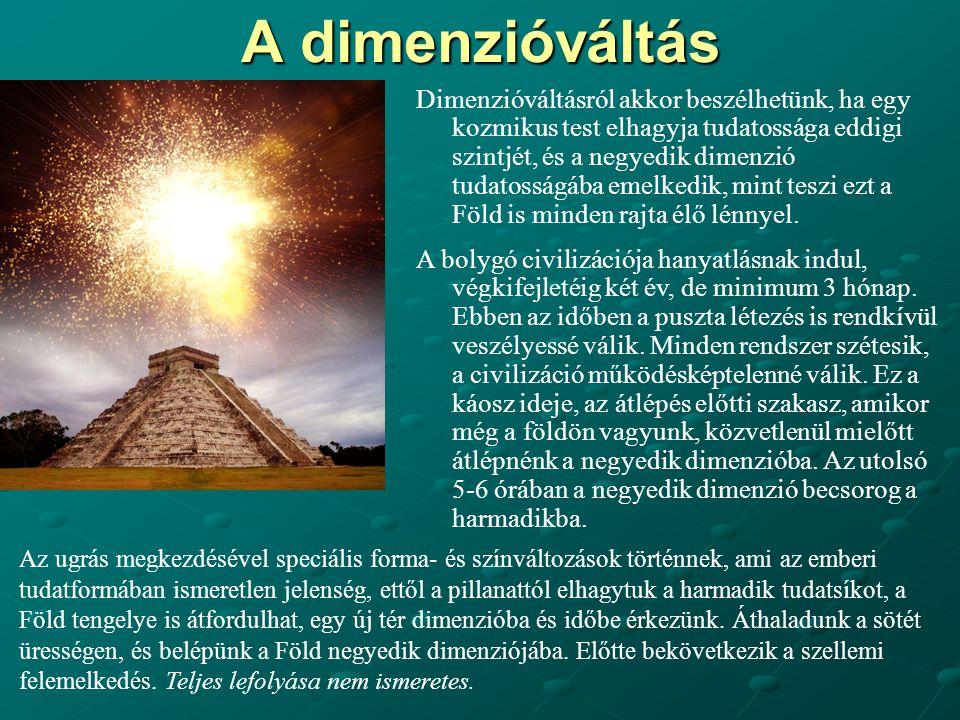 A dimenzióváltás Dimenzióváltásról akkor beszélhetünk, ha egy kozmikus test elhagyja tudatossága eddigi szintjét, és a negyedik dimenzió tudatosságába