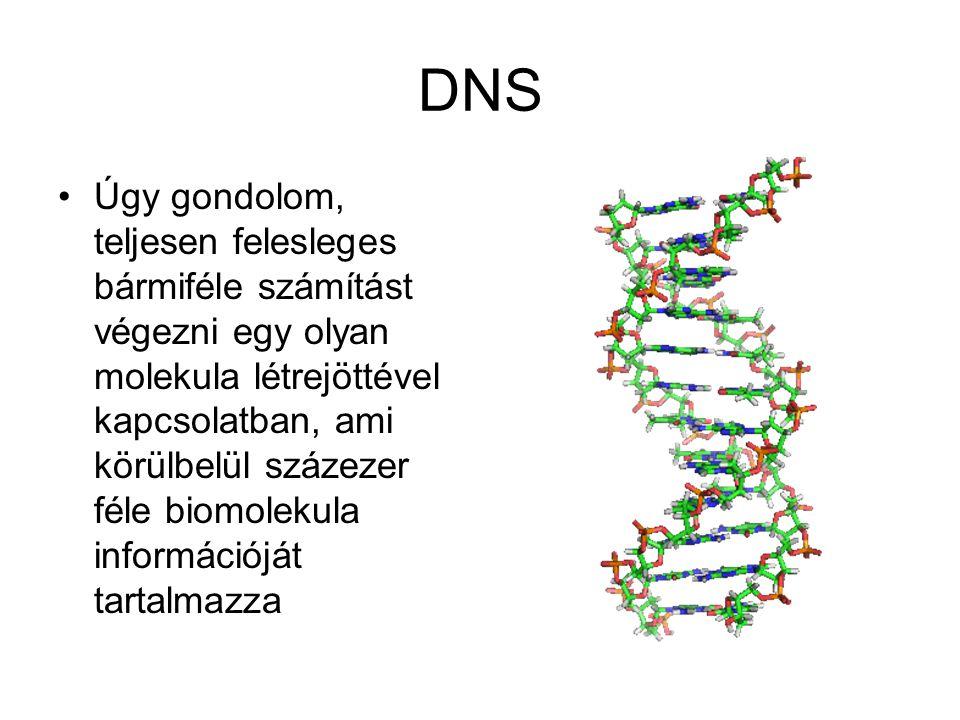 DNS •Úgy gondolom, teljesen felesleges bármiféle számítást végezni egy olyan molekula létrejöttével kapcsolatban, ami körülbelül százezer féle biomolekula információját tartalmazza
