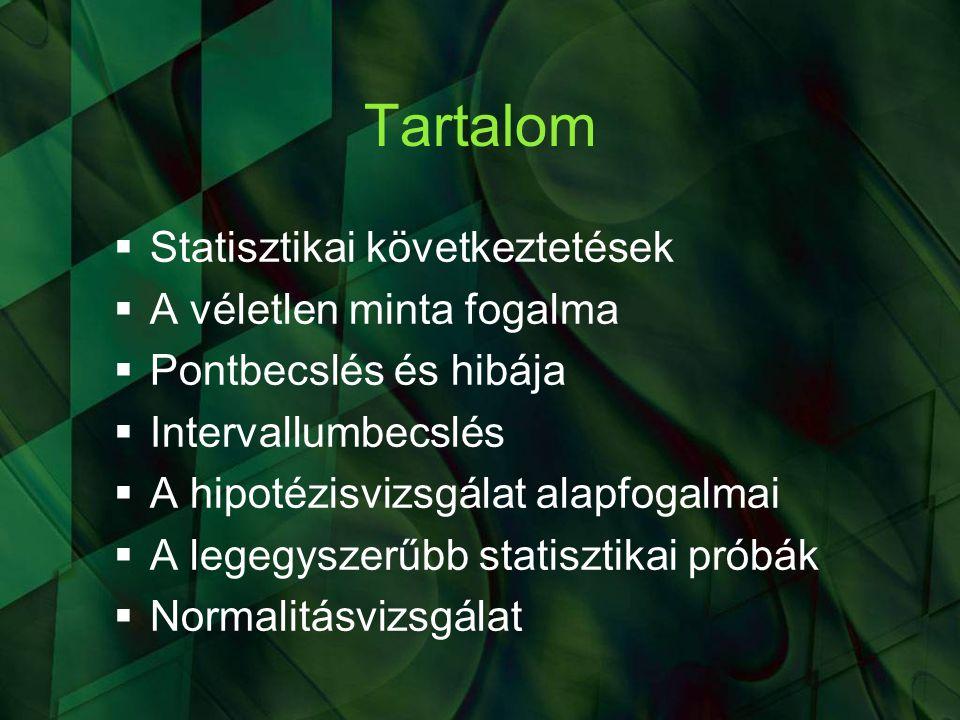 A statisztikai következtetés két fő típusa  Statisztikai becslés  Statisztikai hipotézisvizsgálat