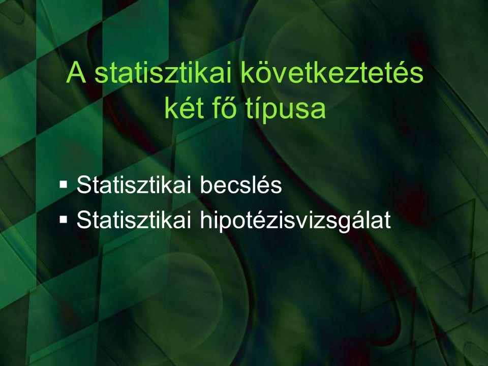 A próba neve: előjelpróba  Nullhipotézis: H 0 : E(IQ) = 100  Az IQ elméleti átlaga 100-zal egyenlő  Ekvivalens nullhipotézis normális eloszlású változók esetén: H 0 : P(IQ 100)  A populációban ugyanolyan gyakran fordul elő 100-nál kisebb, mint 100-nál nagyobb IQ-érték  Ez az előjelpróba szokásos alakú nullhipotézise  Döntés az elemszám alapján statisztika táblázat segítségével (lásd tankönyv)