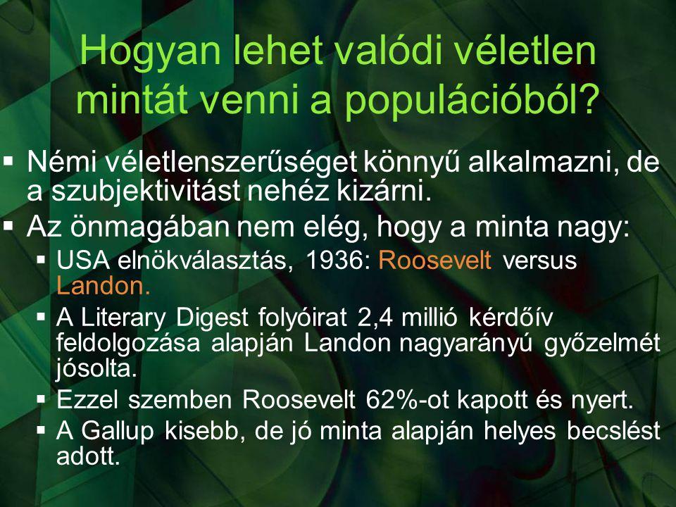 Az elméleti átlag pontbecslése konkrét példával illusztrálva  Változó: félév végi statisztika vizsgajegy  Populáció: I.