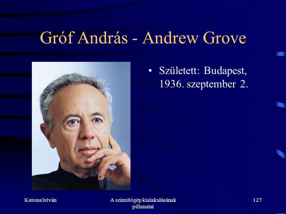Katona IstvánA számítógép kialakulásának pillanatai 127 Gróf András - Andrew Grove •Született: Budapest, 1936.
