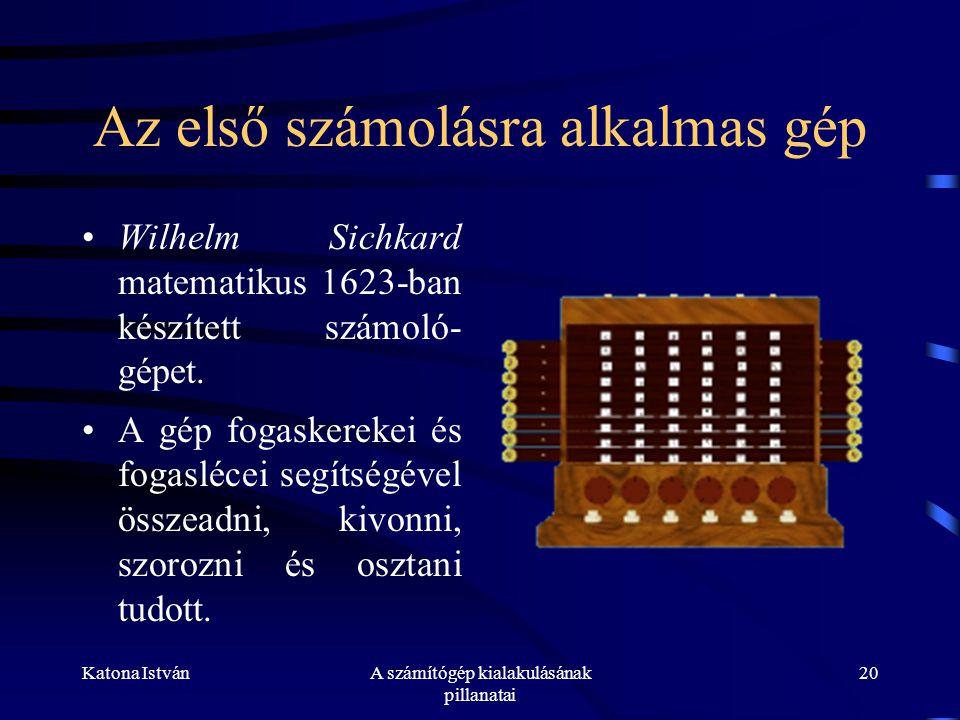 Katona IstvánA számítógép kialakulásának pillanatai 20 Az első számolásra alkalmas gép •Wilhelm Sichkard matematikus 1623-ban készített számoló- gépet.