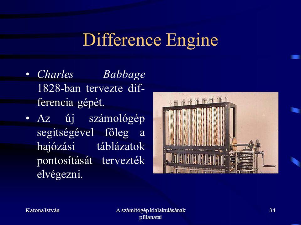 Katona IstvánA számítógép kialakulásának pillanatai 34 Difference Engine •Charles Babbage 1828-ban tervezte dif- ferencia gépét.