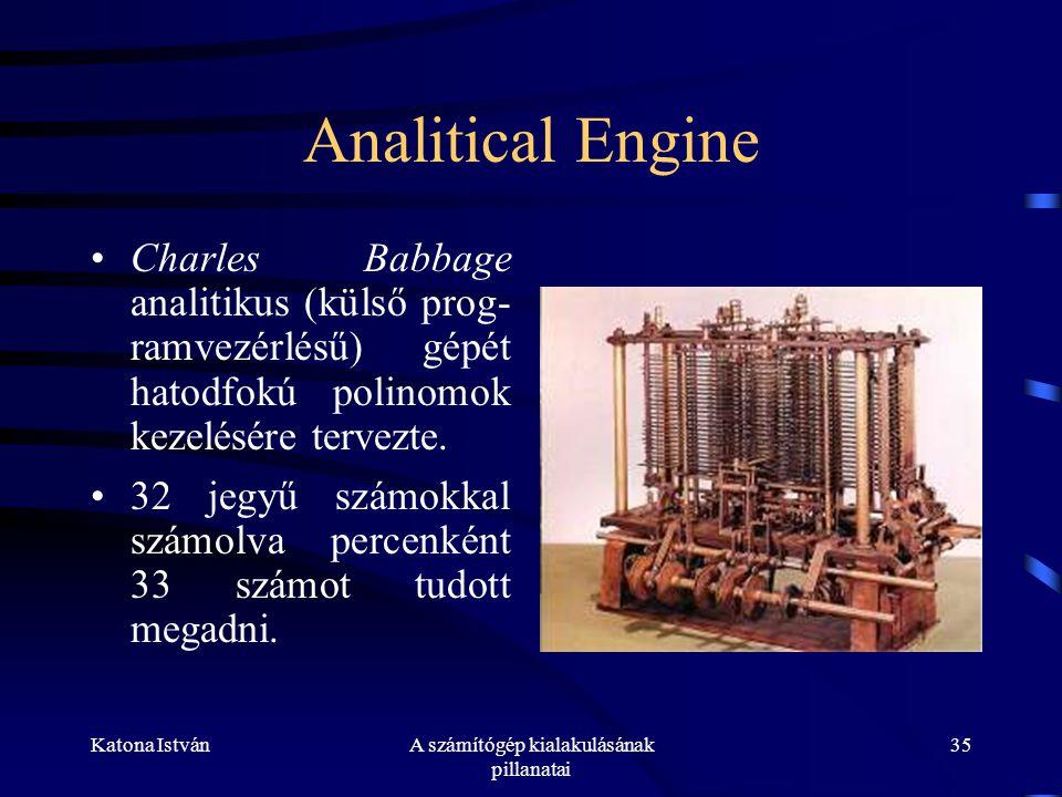 Katona IstvánA számítógép kialakulásának pillanatai 35 Analitical Engine •Charles Babbage analitikus (külső prog- ramvezérlésű) gépét hatodfokú polinomok kezelésére tervezte.