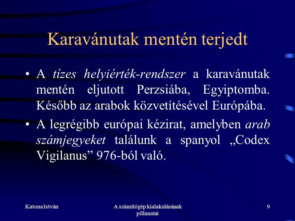 Katona IstvánA számítógép kialakulásának pillanatai 9 Karavánutak mentén terjedt •A tízes helyiérték-rendszer a karavánutak mentén eljutott Perzsiába, Egyiptomba.