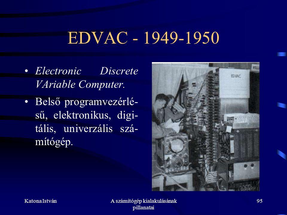 Katona IstvánA számítógép kialakulásának pillanatai 95 EDVAC - 1949-1950 •Electronic Discrete VAriable Computer.
