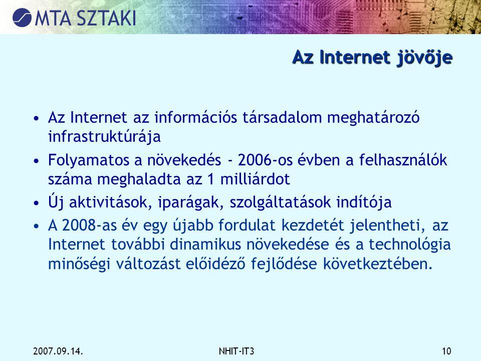 2007.09.14.NHIT-IT3 10 Az Internet jövője •Az Internet az információs társadalom meghatározó infrastruktúrája •Folyamatos a növekedés - 2006-os évben