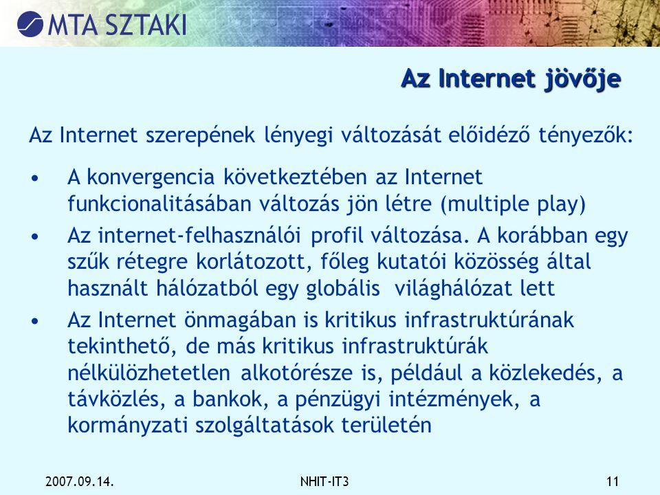 2007.09.14.NHIT-IT3 11 Az Internet jövője Az Internet szerepének lényegi változását előidéző tényezők: •A konvergencia következtében az Internet funkc