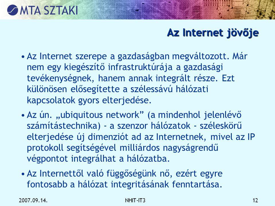 2007.09.14.NHIT-IT3 12 Az Internet jövője •Az Internet szerepe a gazdaságban megváltozott. Már nem egy kiegészítő infrastruktúrája a gazdasági tevéken