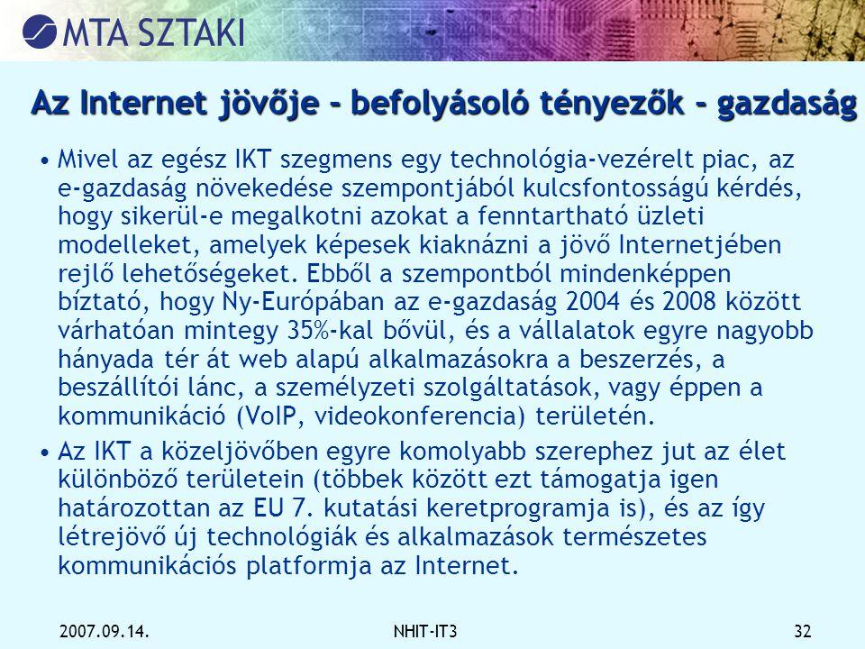 2007.09.14.NHIT-IT3 32 Az Internet jövője - befolyásoló tényezők - gazdaság •Mivel az egész IKT szegmens egy technológia-vezérelt piac, az e-gazdaság