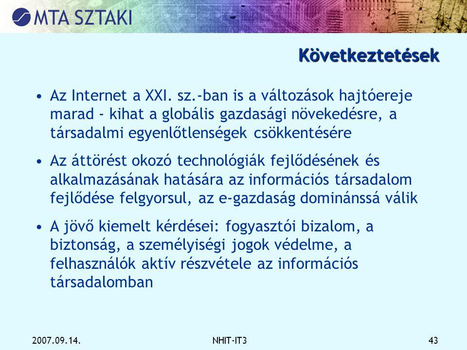 2007.09.14.NHIT-IT3 43 Következtetések •Az Internet a XXI. sz.-ban is a változások hajtóereje marad - kihat a globális gazdasági növekedésre, a társad