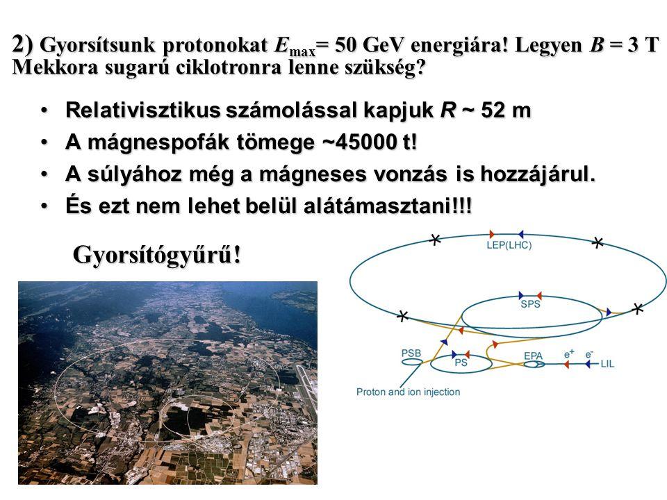 Ciklotronnal előállítható maximális energia: Nagy energiáknál két probléma: 1) De az energia növekedésével m is nő (relativisztikusan) Két lehetséges