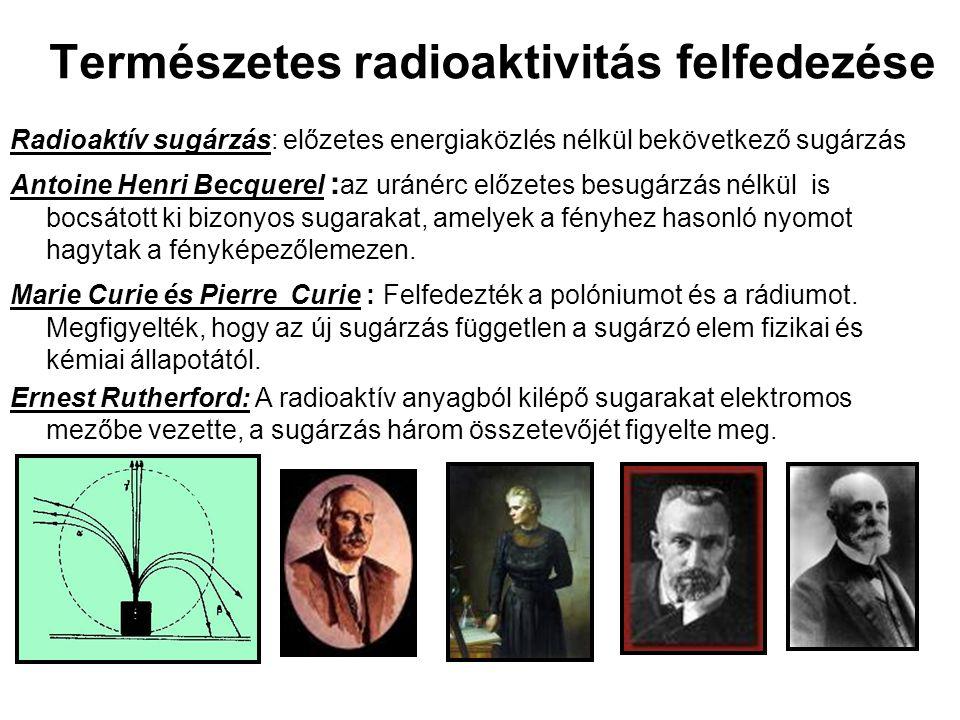 Természetes radioaktivitás felfedezése Radioaktív sugárzás: előzetes energiaközlés nélkül bekövetkező sugárzás Antoine Henri Becquerel : az uránérc előzetes besugárzás nélkül is bocsátott ki bizonyos sugarakat, amelyek a fényhez hasonló nyomot hagytak a fényképezőlemezen.