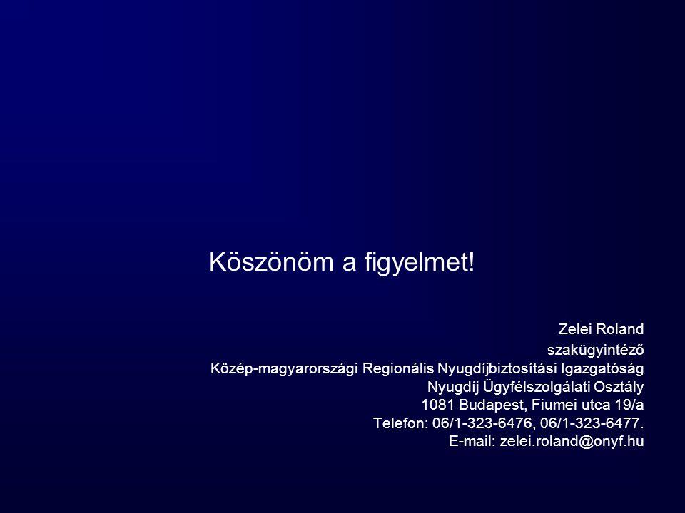 Köszönöm a figyelmet! Zelei Roland szakügyintéző Közép-magyarországi Regionális Nyugdíjbiztosítási Igazgatóság Nyugdíj Ügyfélszolgálati Osztály 1081 B