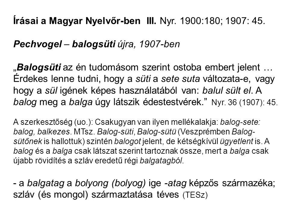 """Írásai a Magyar Nyelvőr-ben III. Nyr. 1900:180; 1907: 45. Pechvogel – balogsüti újra, 1907-ben """"Balogsüti az én tudomásom szerint ostoba embert jelent"""